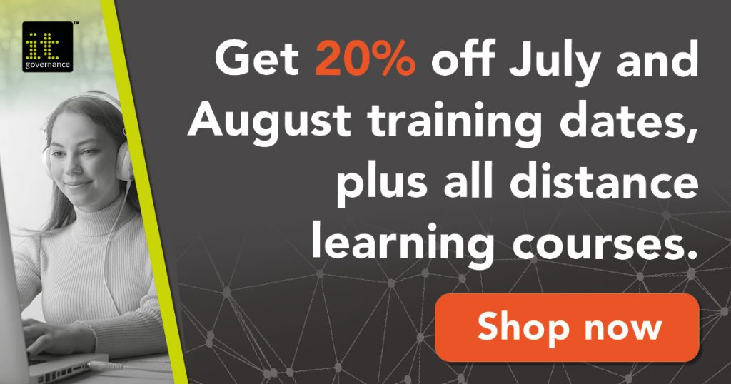 Get 20% off July and August training dates, plus all distance learning courses.