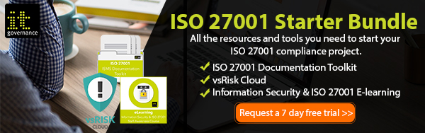 7 day free trial of ISO 27001 Starter Bundle. All the resources and tools you need to start your ISO 27001 compliance project.