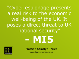 Cyber espionage presents a real risk to the economic well-being of the UK. It poses a direct threat to UK national security