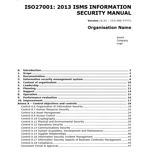 iso 27001 templates information security manual